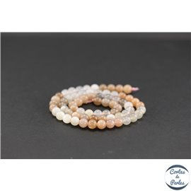 Perles semi précieuses en pierre de Lune - Ronde/6 mm - Saumon - Grade AA
