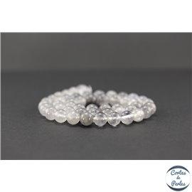 Perles semi précieuses en quartz nuage - Ronde/8 mm - Gris smoke