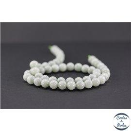 Perles semi précieuses en jadéite - Ronde/8 mm - Vert pâle