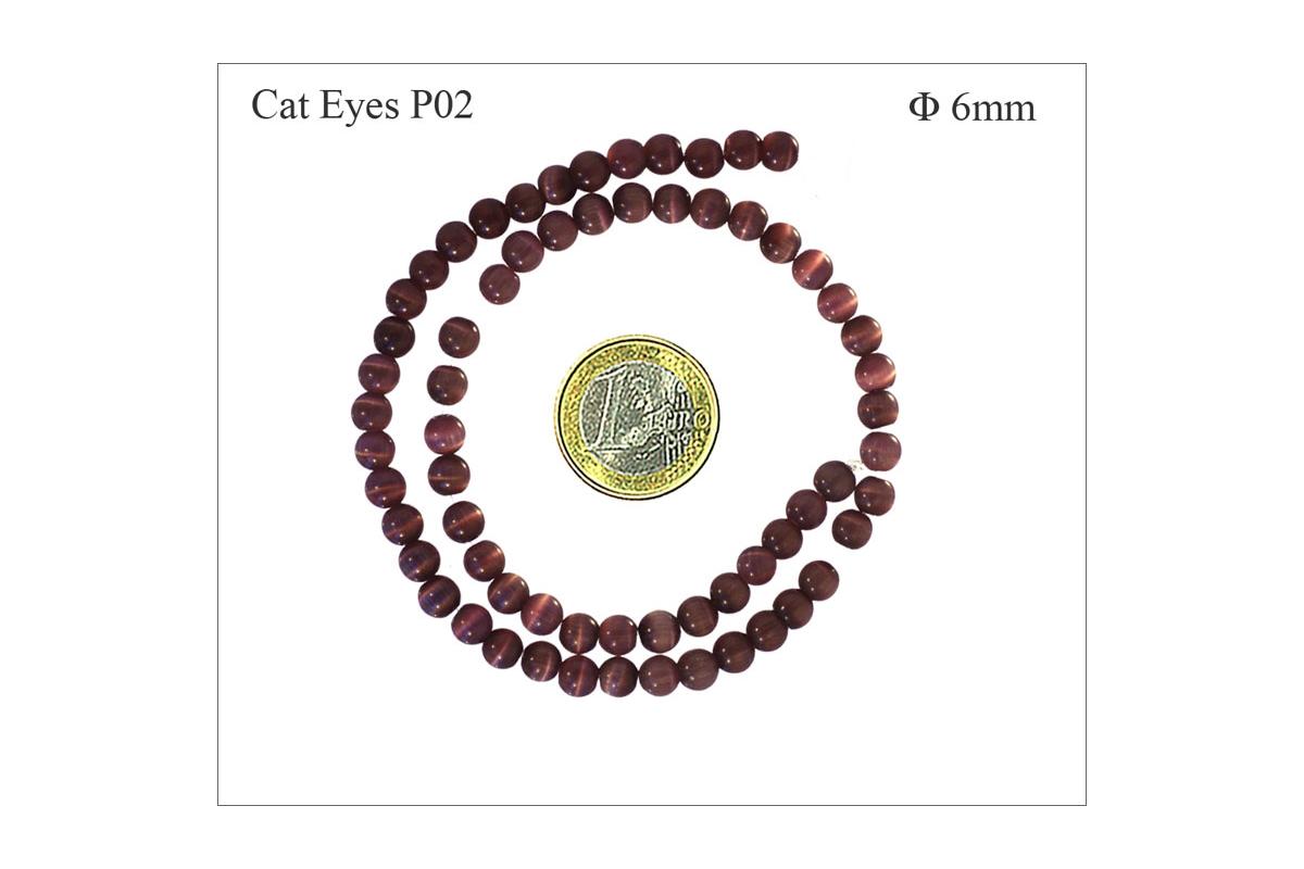 65 Perles oeil de chat 6mm coloris miel