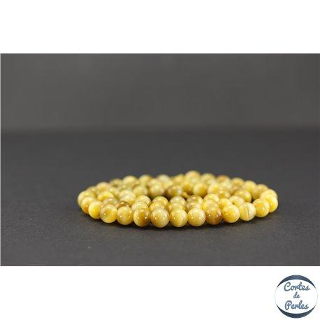 Perles semi précieuses en oeil de tigre - Ronde/6 mm - Camel - Grade AAA