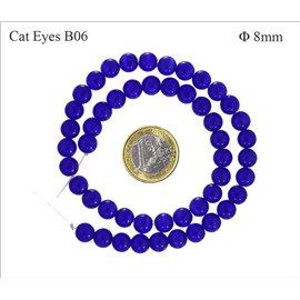Perles oeil de chat lisses - Rondes/8 mm - Bleu Capri