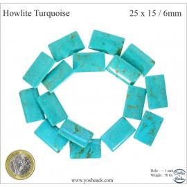 Perles semi précieuses en Howlite Turquoise - Dragée/25 mm - Turquoise