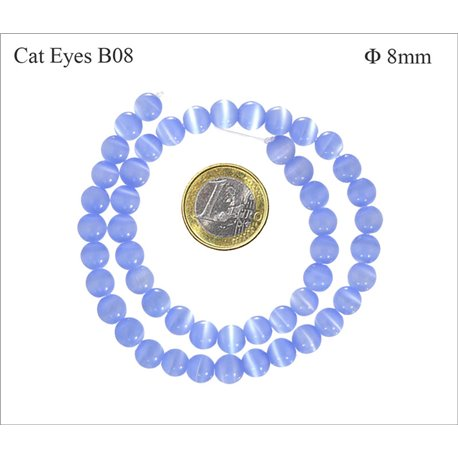Perles Œil de Chat Lisses - Ronde/8 mm - Bleu