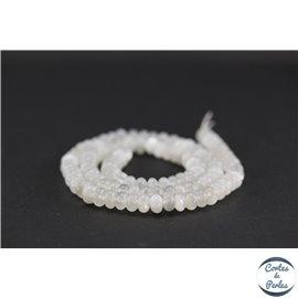 Perles semi précieuses en pierre de Lune - Roue/6 mm - Blanc foggy - Grade AA