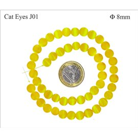 Perles oeil de chat lisses - Rondes/8 mm - Jonquille
