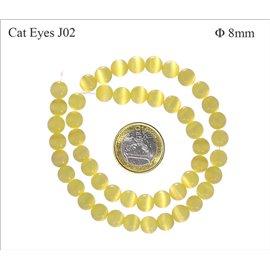 Perles oeil de chat lisses - Rondes/8 mm - Jaune clair