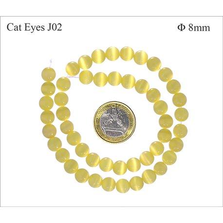 Perles Œil de Chat Lisses - Ronde/8 mm - Jaune