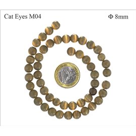 Perles oeil de chat lisses - Rondes/8 mm - Sienna