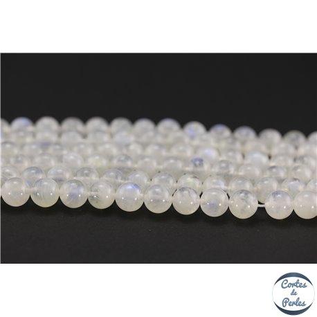 Perles semi précieuses en pierre de Lune - Ronde/8.5 mm - Blanc foggy - Grade AA