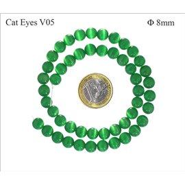 Perles oeil de chat lisses - Rondes/8 mm - Vert
