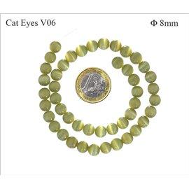 Perles oeil de chat lisses - Rondes/8 mm - Kaki clair