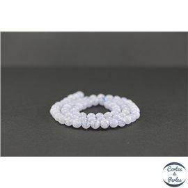 Perles semi précieuses en agate dentelle bleue - Ronde/6 mm - Grade AA