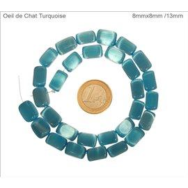 Perles oeil de chat lisses - Rectangles/13 mm - Turquoise