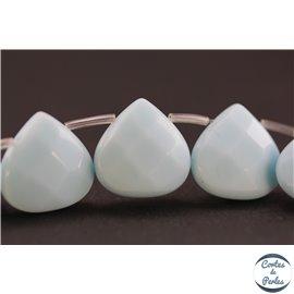 Perles facettées en verre - Gouttes/16 mm - Bleu Turquoise Opaque