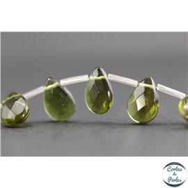 Perles de Bohème Facettées - Goutte/12 mm - Vert