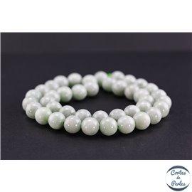 Perles semi précieuses en jade de Birmanie - Ronde/10 mm - Vert pâle