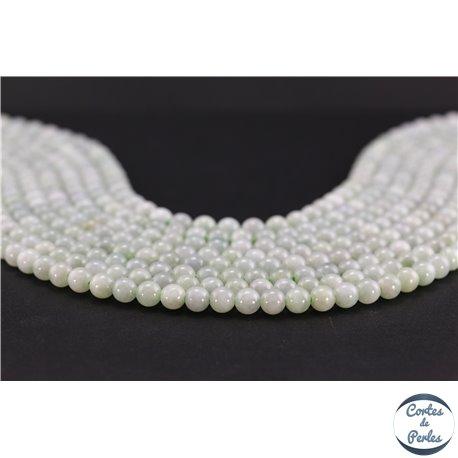 Perles semi précieuses en jadéite - Ronde/6 mm - Vert pâle