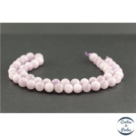 Perles semi précieuses en kunzite - Ronde/8 mm - Grade AA
