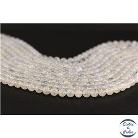 Perles semi précieuses en pierre de Lune - Ronde/6 mm - Blanc foggy - Grade AA