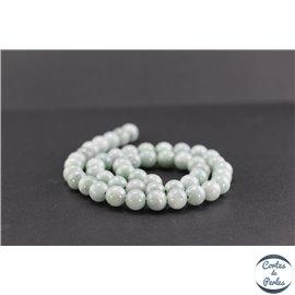 Perles semi précieuses en jade de Birmanie - Ronde/8 mm - Vert pâle