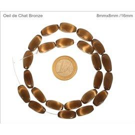 Perles oeil de chat lisses - Tubes/16 mm - Bronze