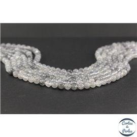 Perles semi précieuses en quartz nuage - Ronde/6 mm - Gris smoke