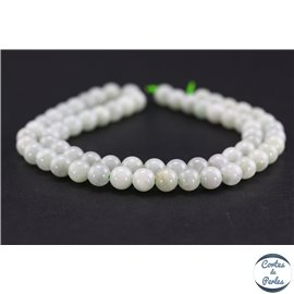 Perles semi précieuses en jade de Birmanie - Ronde/6 mm - Vert pâle