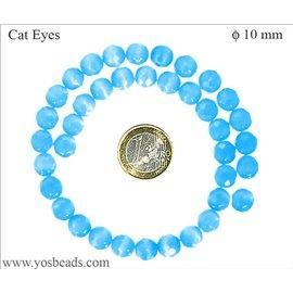 Perles oeil de chat facettées - Rondes/10 mm - Bleu Caraïbes