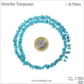 Perles semi précieuses en Howlite Turquoise - Irrégulier/5 mm - Turquoise