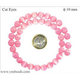 Perles oeil de chat facettées - Rondes/10 mm - Misty rose