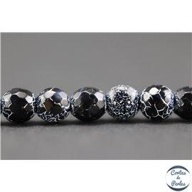 Perles semi précieuses en cracked agate - Rondes/5 mm - Noir