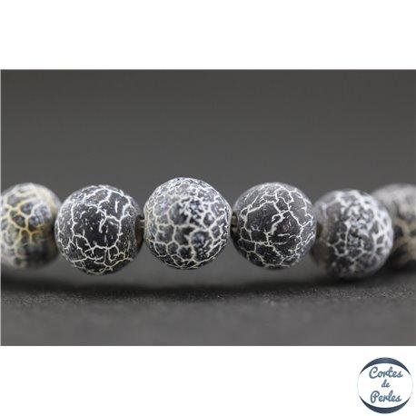 Perles semi précieuses en agate - Rondes/8 mm - Noir craquelé