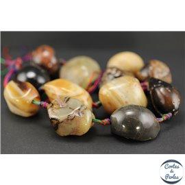 Perles en agate fauve - Pépites/25mm