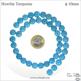 Perles semi précieuses en Howlite Turquoise - Ronde/10 mm - Turquoise
