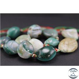 Perles semi précieuses en green agate - Pépites/20 mm