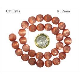 Perles oeil de chat facettées - Rondes/12 mm - Sienna