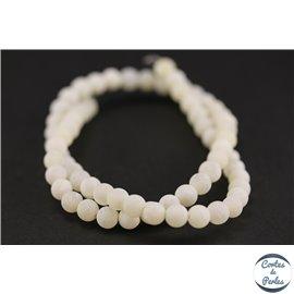 Perles semi précieuses en agate - Rondes/6 mm - Blanc dépoli