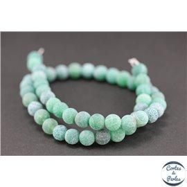 Perles semi précieuses en agate - Rondes/8 mm - Vert dépoli