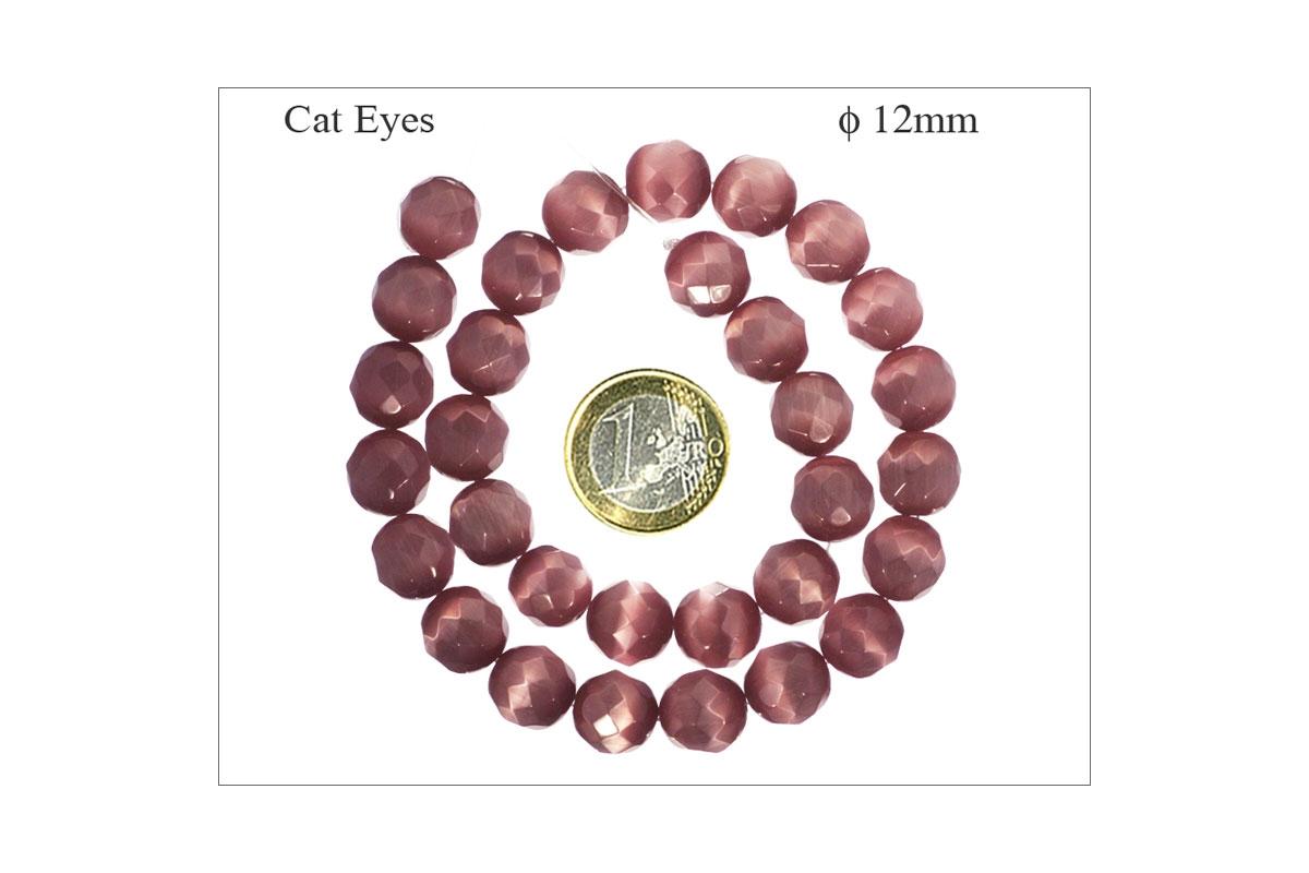 """16/"""" OEIL DE CHAT 8 MM coin Perles Verre Améthyste"""