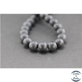 Perles semi précieuses en agate - Ronde/8 mm - Noir - Grade A