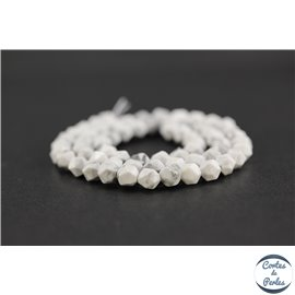 Perles semi précieuses en howlite - Pépite/6 mm - Blanc marbré