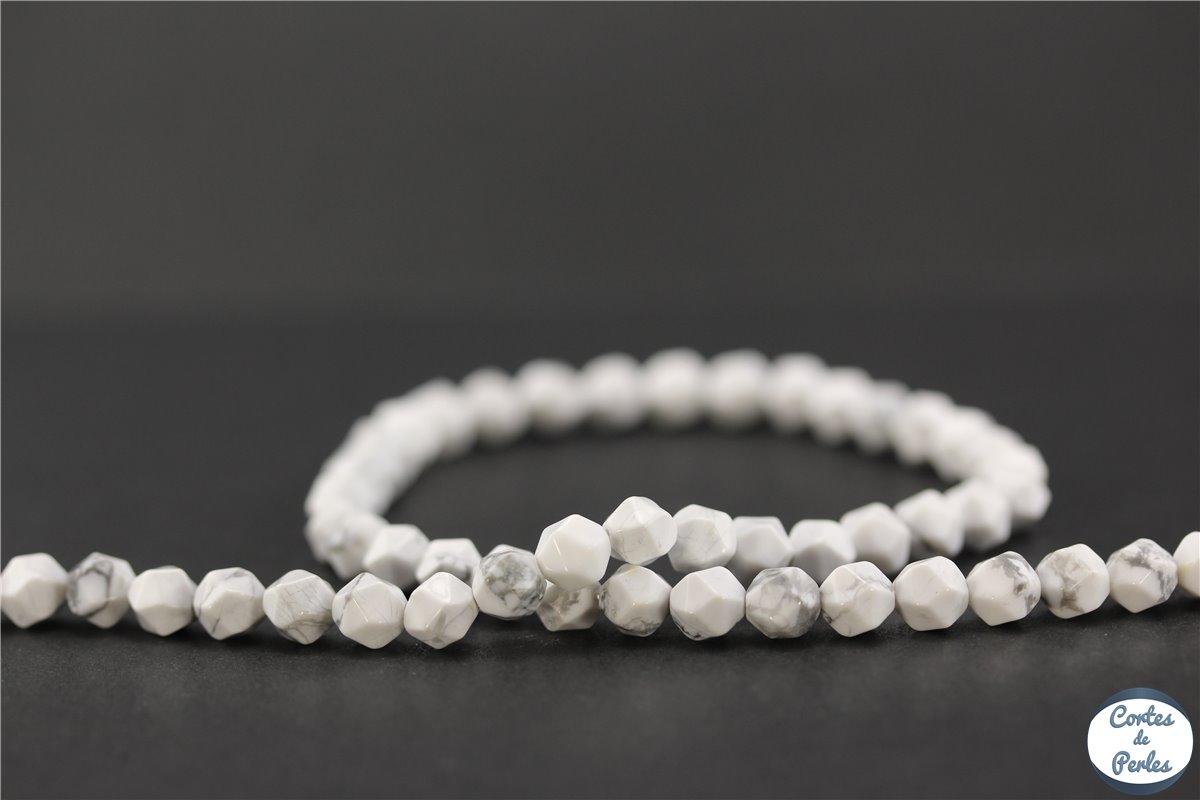 grossiste perles en howlite p pite 6 mm blanc marbr pas cher. Black Bedroom Furniture Sets. Home Design Ideas