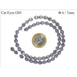 Perles oeil de chat facettées - Toupies/6 mm - Gris