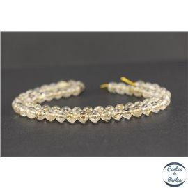 Perles semi précieuses en quartz rutile - Ronde/7 mm - Jaune
