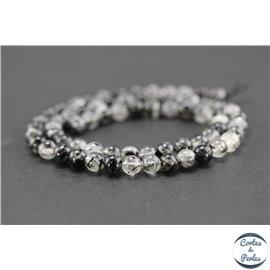 Perles semi précieuses en quartz rutile - Ronde/6 mm - Noir - Grade AA