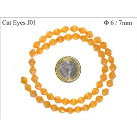 Perles oeil de chat facettées - Toupies/6 mm - Gold