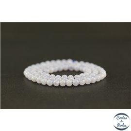 Perles semi précieuses en agate dentelle bleue - Ronde/4 mm - Grade AA