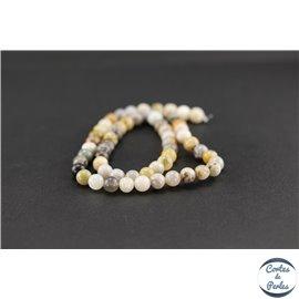 Perles semi précieuses en agate feuille de bambou - Ronde/6 mm