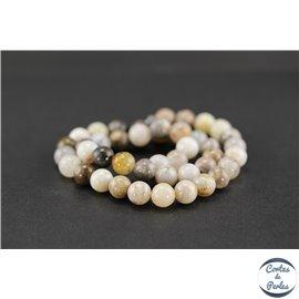 Perles semi précieuses en agate feuille de bambou - Ronde/8 mm